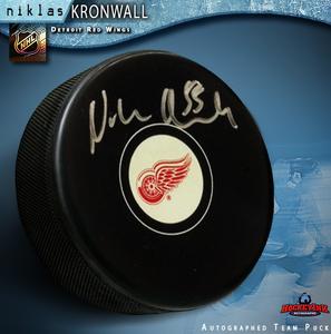 NIKLAS KRONWALL Signed Detroit Red Wings Puck