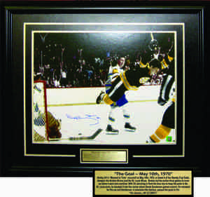 Bobby Orr - Signed & Framed 16x20 Etched Mat - Boston Bruins The Goal in Colour