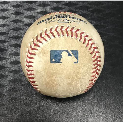 Photo of 2017 All-Star Auction: Game-Used Baseball - Carlos Santana Strikeout & Francisco Lindor At Bat vs. Zack Greinke