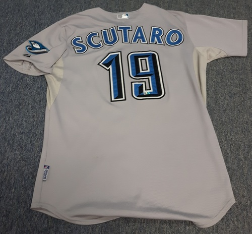 Photo of Authenticated Game Used Jersey - #19 Marco Scutaro (August 17, 2008: 3-for-6 with 2 Runs). Size 44.