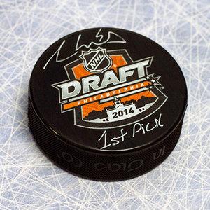 Aaron Ekblad Autographed 2014 NHL Draft Day Puck w 1st Pick Inscription *Florida Panthers*