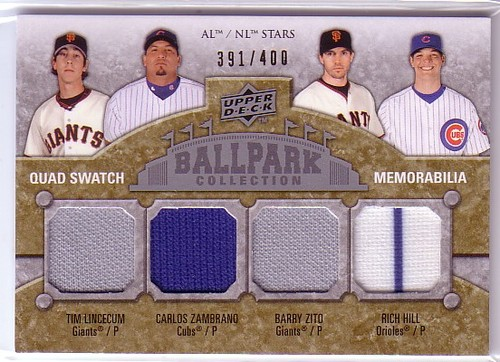 Photo of 2009 Upper Deck Ballpark Collection #209 Rich Hill/Tim Lincecum/Barry Zito/Carlos Zambrano/400