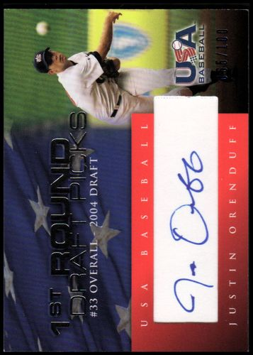 Photo of 2006-07 USA Baseball 1st Round Draft Pick Signatures Blue #15 Justin Orenduff