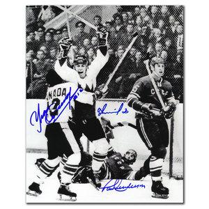 Paul Henderson, Vladislav Tretiak & Yvan Cournoyer Summit Series Autographed 8x10