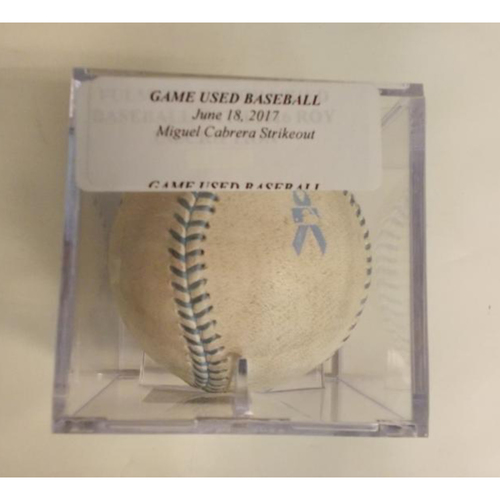 Photo of Game-Used Baseball: Miguel Cabrera Strike Out
