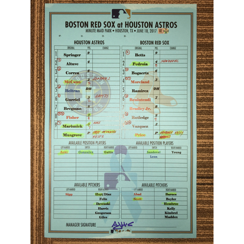 Photo of Astros vs Red Sox, 6/18/17 - Game-Used Lineup Card