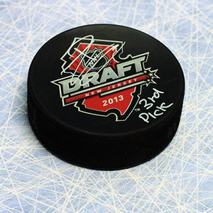 Jonathan Drouin 2013 NHL Draft Day Autographed Puck with 3rd Pick Inscription *Tampa Bay Lightning*
