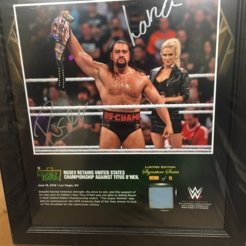 Rusev SIGNED Money In The Bank 2016 15 x 17 Framed Ring Canvas Photo Collage