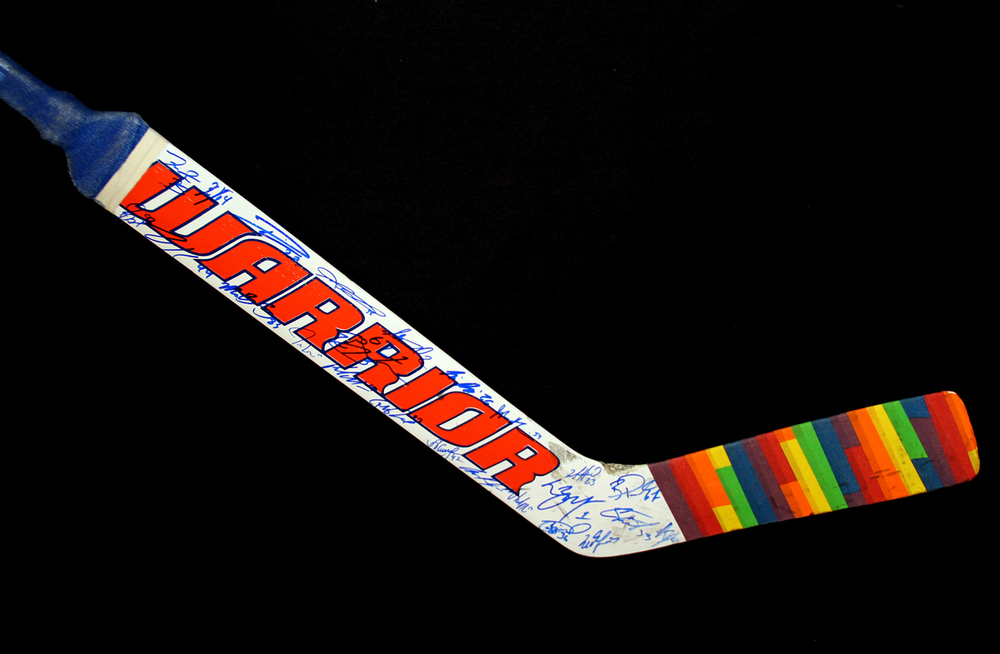 Laurent Brossoit #1 - Team Autographed 2016-17 Edmonton Oilers You Can Play Night Pre-Game Warm Up Used Warrior Goal Stick With Pride Tape