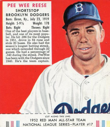 Photo of 1952 Red Man #NL17 Pee Wee Reese With Tab