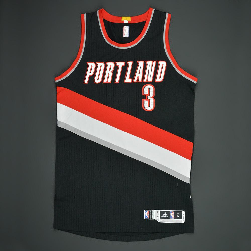 CJ McCollum - Portland Trail Blazers - Black Playoffs Game-Worn Jersey - 2016-17 Season
