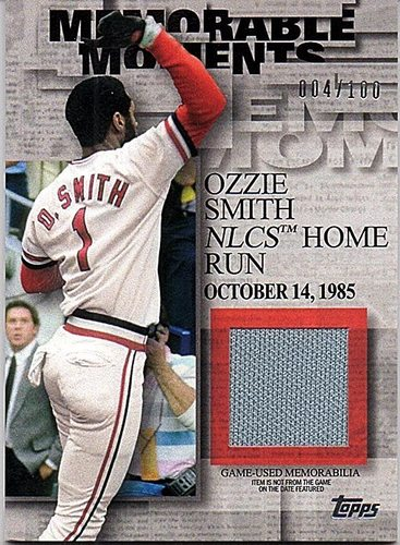Photo of 2017 Topps Memorable Moments Relics #MMROS Ozzie Smith Jersey 4/100