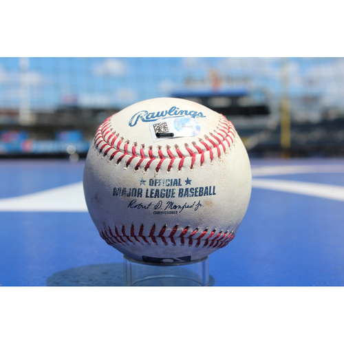 Game-Used Baseball: Mike Moustakas Single and Jorge Bonifacio Single (8/6/17 - SEA at KC - Game 1)