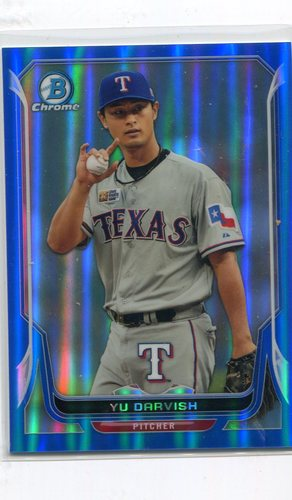 Photo of 2014 Bowman Chrome Blue Refractors #146 Yu Darvish 25/250 -- Dodgers post-season
