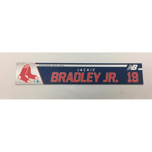 Photo of Jackie Bradley Jr September 14, 2017 Game-Used Locker Tag