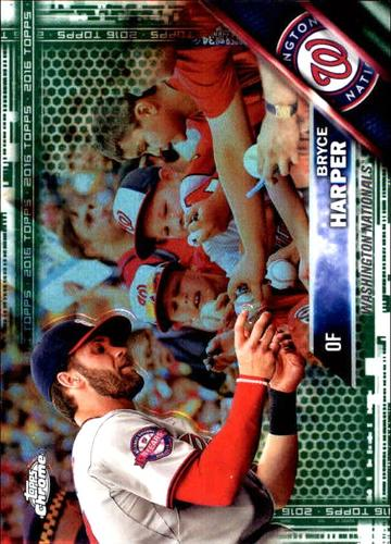 Photo of 2016 Topps Chrome Green Refractor #200 Bryce Harper SP Photo Variation 89/99