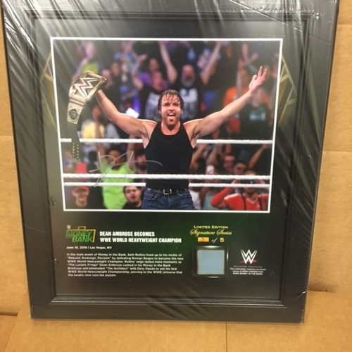 Photo of Dean Ambrose SIGNED Money In The Bank 2016 15 x 17 Framed Ring Canvas Photo Collage