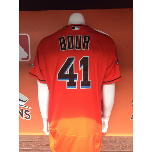Photo of Justin Bour's 6 RBI Game Jersey