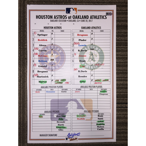 Photo of Astros at Athletics, 6/20/17 - Game-Used Lineup Card