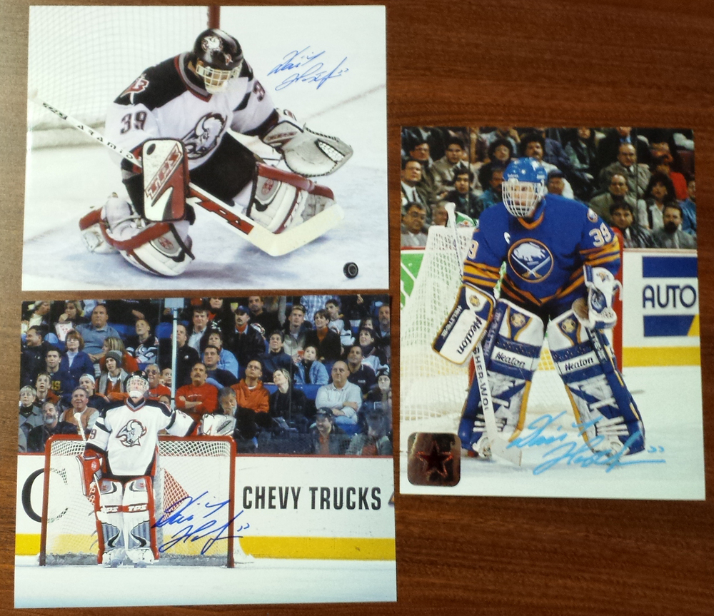 Dominik Hasek Autographed 8x10 3 piece photo pack on the Buffalo Sabres