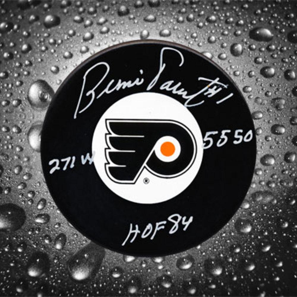 Bernie Parent Philadelphia Flyers HOF Stats Autographed Puck