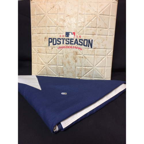 Photo of Texas Rangers Game-Used 1st Base - ALDS Game 1 - 10/6/16 & Texas Flag from Globe Life Park