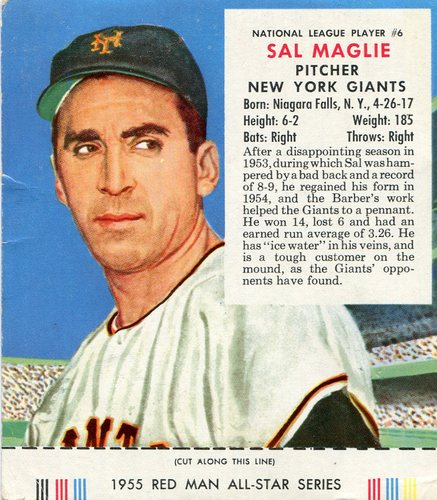 Photo of 1955 Red Man #NL6 Sal Maglie With Tab