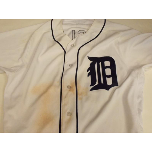 Photo of Autographed Game-Used Ian Kinsler Home Jersey: 7 Hits, 5 Runs and 1 RBI