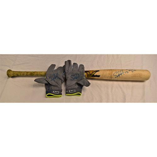 Photo of Salvador Perez Autographed Bat and Batting Gloves Benefitting Pet Pal Animal Shelter