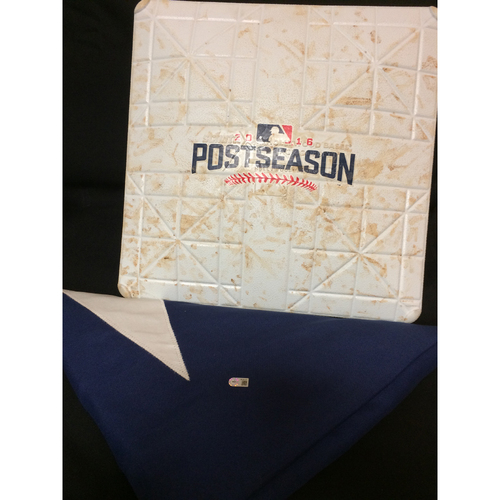 Photo of Texas Rangers Game-Used 3rd Base - ALDS Game 1 - 10/6/16 & Texas Flag from Globe Life Park