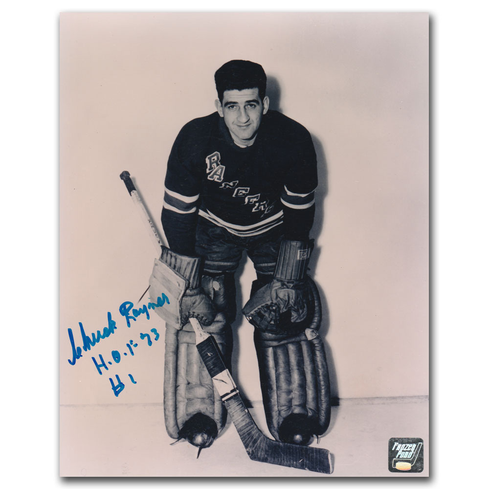 Chuck Rayner (deceased) Autographed New York Rangers 8X10 Photo w/HOF 73 Inscription