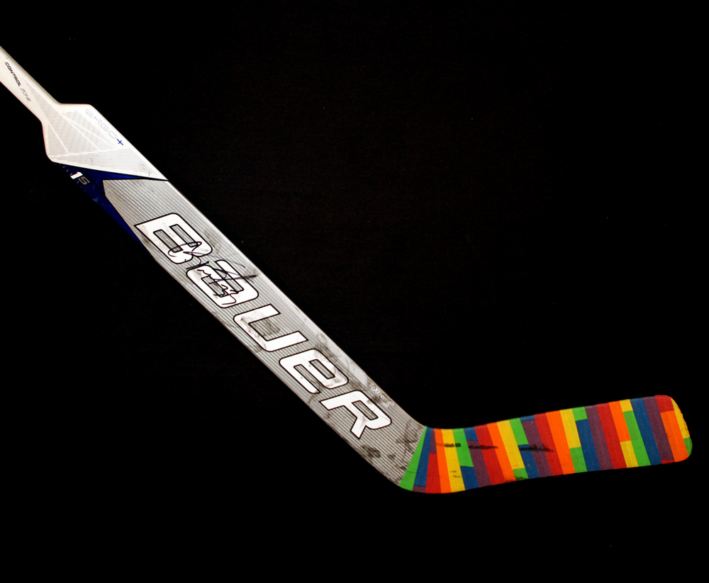 Cam Talbot #33 - Autographed 2016-17 Edmonton Oilers You Can Play Night Pre-Game Warm Up Used Bauer Goal Stick With Pride Tape