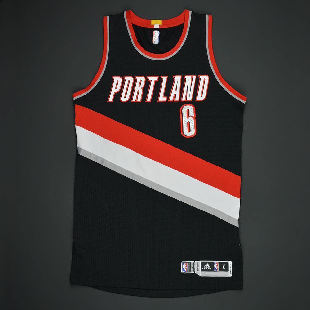 Shabazz Napier - Portland Trail Blazers - Black Playoffs Game-Worn Jersey - 2016-17 Season