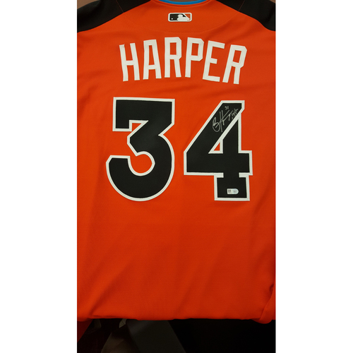 Photo of Bryce Harper 2017 Major League Baseball Workout Day/Home Run Derby Autographed Jersey