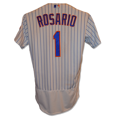 Photo of Amed Rosario #1 - Game Used White Pinstripe Jersey - Rosario Collects Career Hit #5 - Mets vs. Rangers - 8/9/17