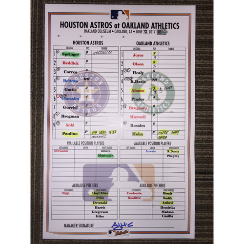 Photo of Astros at Athletics, 6/22/17 - Game-Used Lineup Card