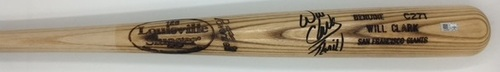 "Photo of Will Clark ""Thrill"" Autographed Game Model Louisville Slugger Bat"
