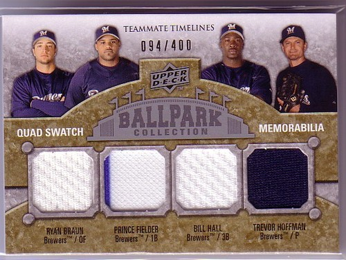 Photo of 2009 Upper Deck Ballpark Collection #254 Bill Hall/Trevor Hoffman/Ryan Braun/Prince Fielder/400