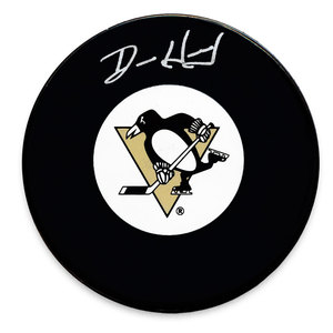 Denis Herron Pittsburgh Penguins Autographed Puck