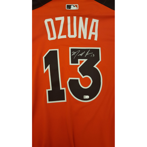 Photo of Marcell Ozuna 2017 Major League Baseball Workout Day/Home Run Derby Autographed Jersey