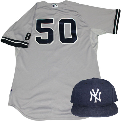Photo of Nick Rumbelow Set - NY Yankees 2015 Game-Used #50 Road Jersey w/ Yogi Berra #8 Commemorative Patch & Hat Set (10/4/2015)