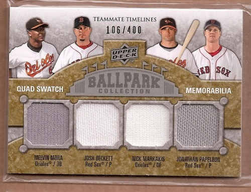 Photo of 2009 Upper Deck Ballpark Collection #266 Josh Beckett/Nick Markakis/Melvin Mora/Jonathan Papelbon/40