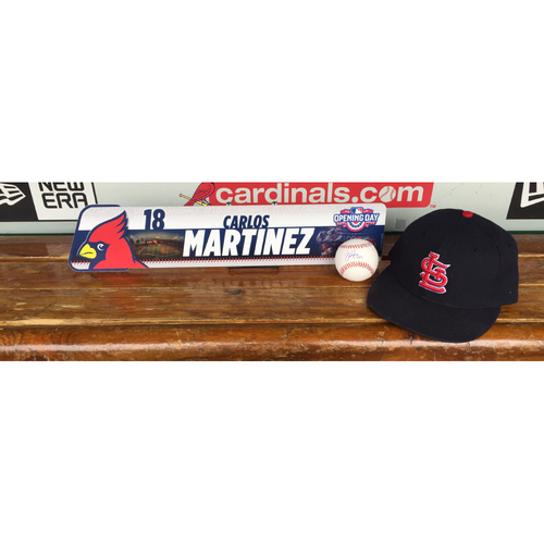 Photo of Cardinals Authentics: Carlos Martinez Opening Day Locker Tag, Road Navy Cap, and Autograph baseball