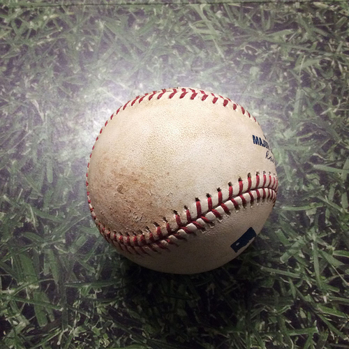 Photo of Game-Used Baseball 08/10/17 MIN@MIL - Dietrich Enns to Ryan Braun: Single