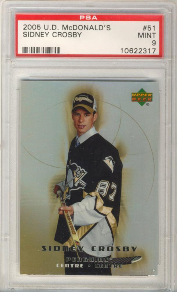 2005-06 UD McDonalds #51 SIDNEY CROSBY Pittsburgh Penguins Graded Rookie Card - MINT PSA 9