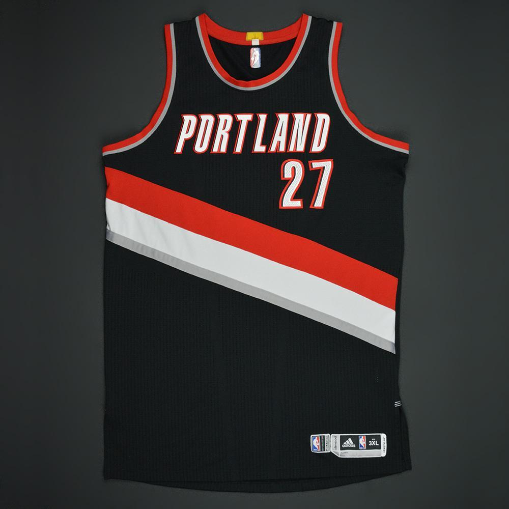 Jusuf Nurkic - Portland Trail Blazers - Black Playoffs Game-Issued Jersey - 2016-17 Season
