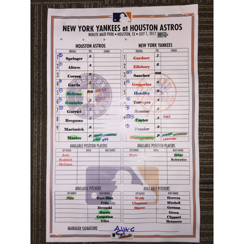 Photo of Astros vs Yankees, 7/1/17 - Game-Used Lineup Card