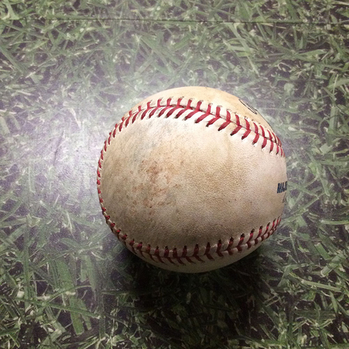 Photo of Game-Used Baseball 08/11/17 CIN@MIL - Jimmy Nelson to Zack Cozart: Single