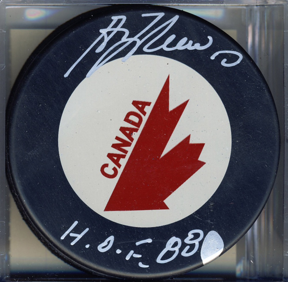 GUY LAFLEUR Team Canada SIGNED Hockey Puck w/ HOF 88 Inscription *Montreal Canadiens*