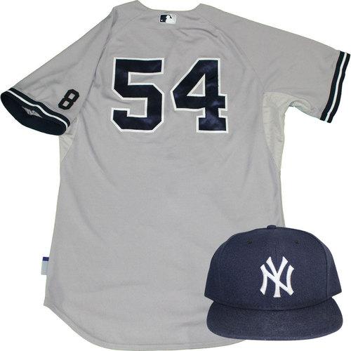 Photo of Joe Espada Set - NY Yankees 2015 Game-Used #54 Road Jersey w/ Yogi Berra #8 Commemorative Patch & Hat Set (10/4/2015)